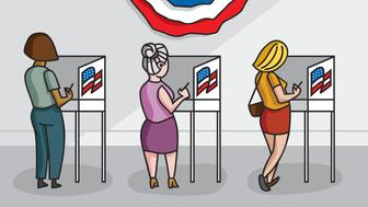 American women at voting booths in their local polling place.