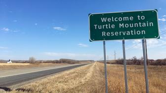 In this Wednesday, Oct. 24, 2018, photo, Native Americans in North Dakota including those on the remote Turtle Mountain Indian Reservation face a hurdle in getting identification with street addresses that will enable them to vote under recently tightened state rules. (AP Photo/Blake Nicholson)