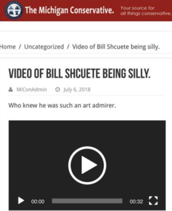A screengrab of the post that contained a video of Bill Schuette's embarrassing 1989 interaction with a woman on a news crew.