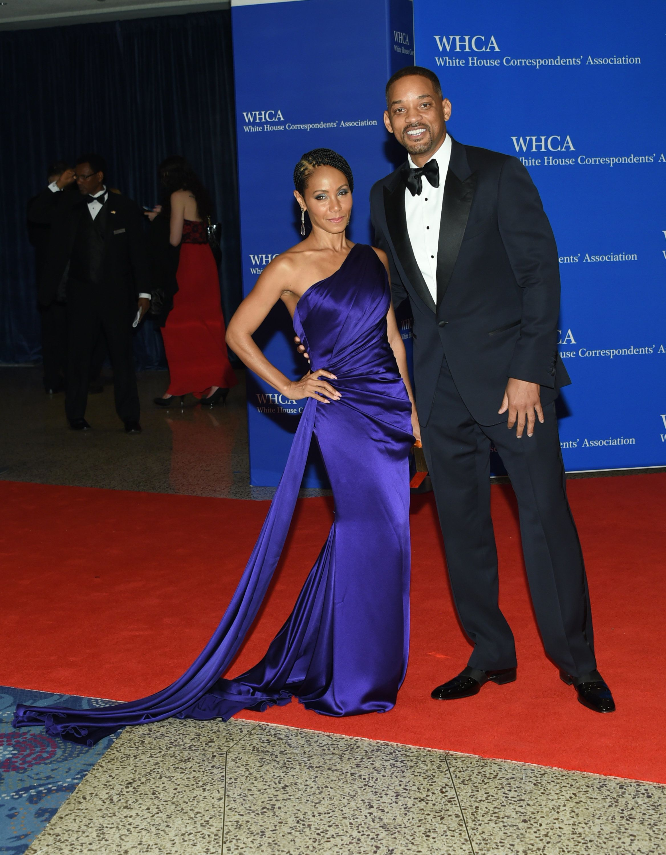 Jada Pinkett Smith, left, and Will Smith arrive at the White House Correspondents' Association Dinner at the Washington Hilton Hotel on Saturday, April 30, 2016, in Washington. (Photo by Evan Agostini/Invision/AP)