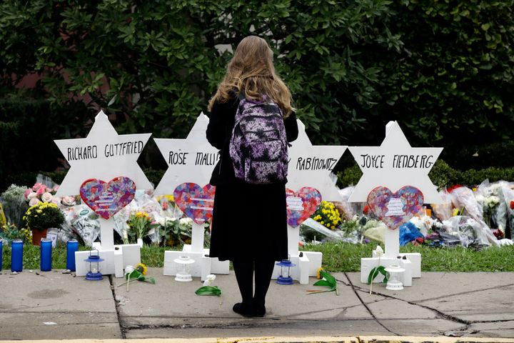 Temporary memorials to those killed at the Tree of Life Synagogue in Pittsburgh on Oct. 27. The Anti-Defamation League r