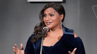 LOS ANGELES, CA - OCTOBER 15:  Mindy Kaling speaks onstage during ELLE's 25th Annual Women In Hollywood Celebration presented by L'Oreal Paris, Hearts On Fire and CALVIN KLEIN at Four Seasons Hotel Los Angeles at Beverly Hills on October 15, 2018 in Los Angeles, California.  (Photo by Neilson Barnard/Getty Images for ELLE Magazine)