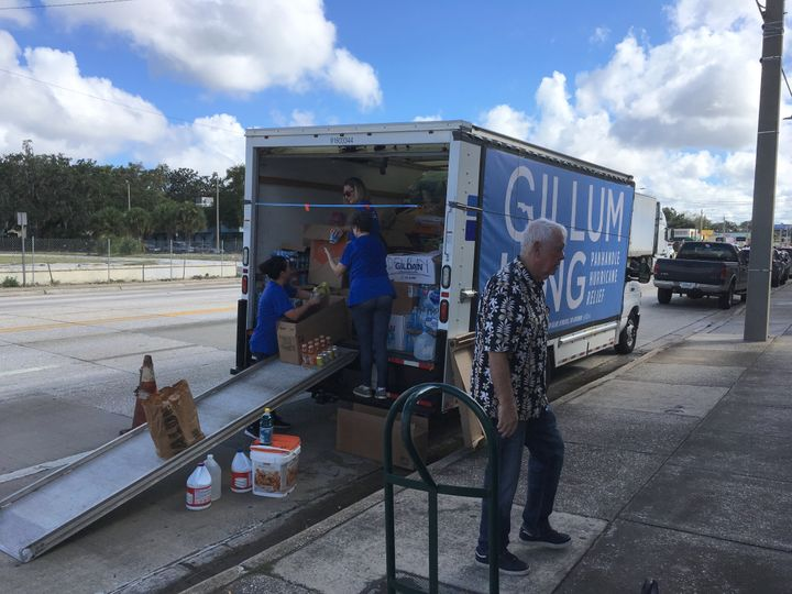 Volunteers for Andrew Gillum's gubernatorial campaign fill a truck with relief supplies in Orlando earlier this month.