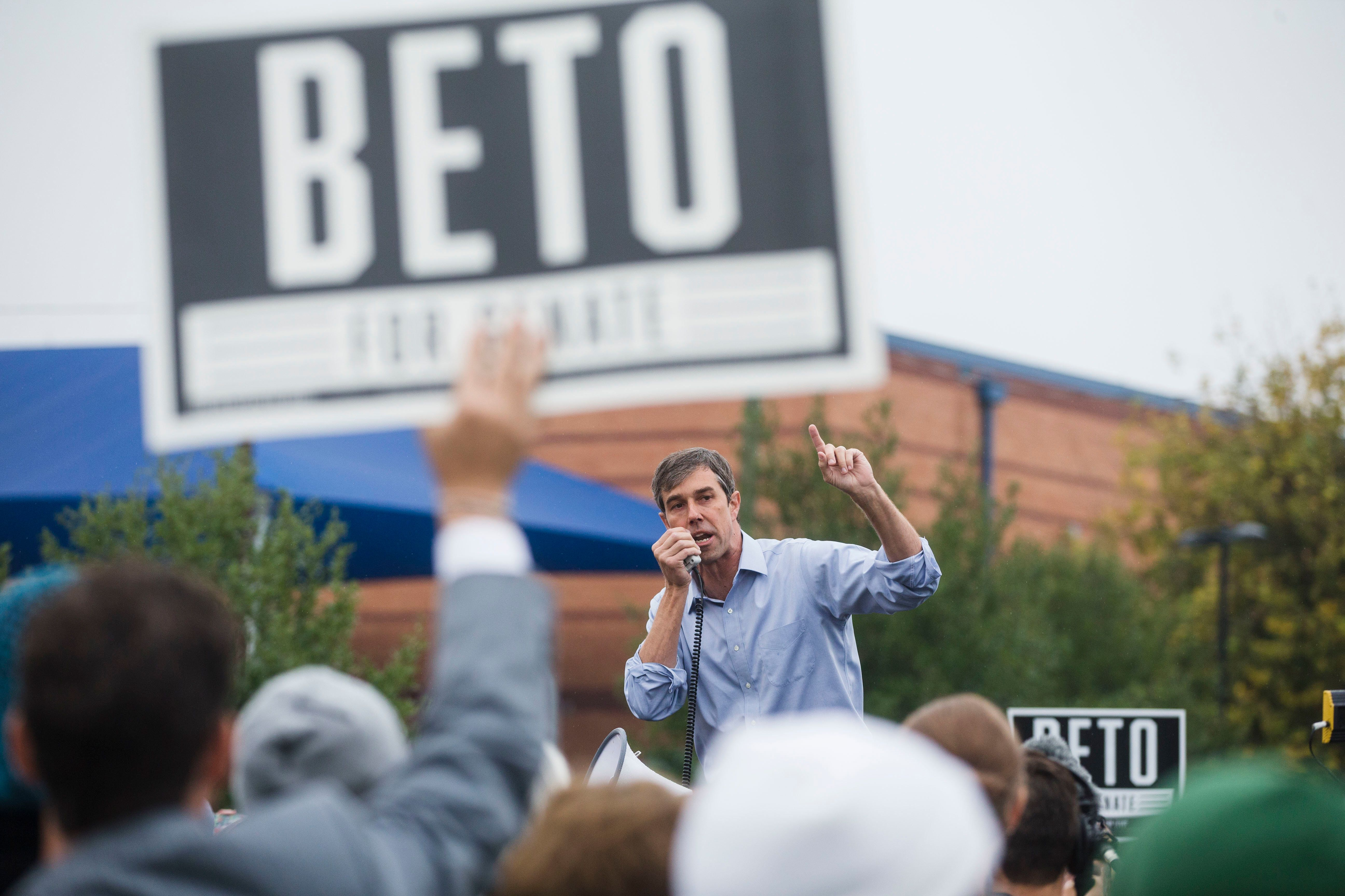 Beto O'Rourke, the 2018 Democratic Candidate for U.S. Senate in Texas, speaks during a pop-up 'Vote with Beto' event at Houston School Park on Wednesday, Oct. 24, 2018, in Austin, TX. Beto held several events near early polling locations across Austin. (Amanda Voisard/Austin American-Statesman via AP)