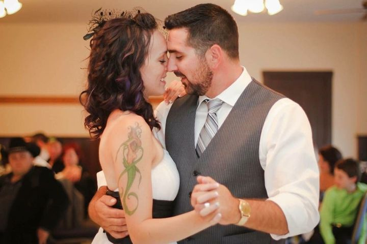 Ben and Jessica Grogan on their wedding day in August 2014.