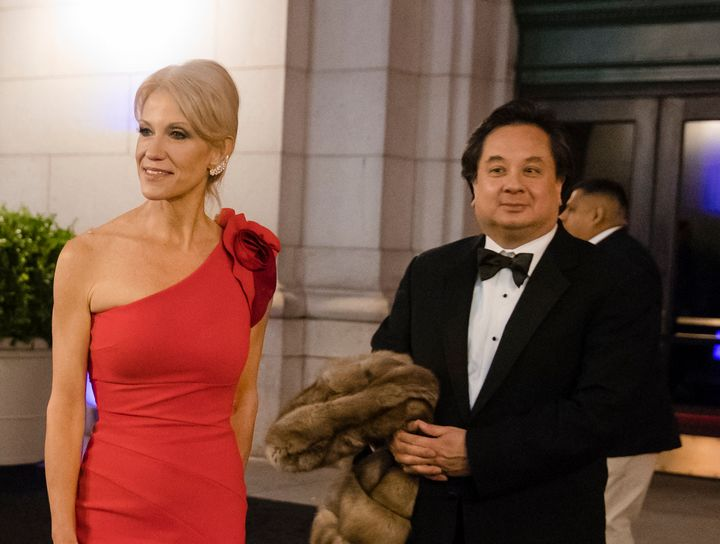 George Conway, right, has been a frequent critic of the president. His wife Kellyanne Conway, left, works in the White H