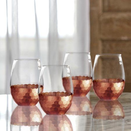 Statement Glasses Better Homes & Gardens Copper Honeycomb Finish Stemless Glass https://www.walmart.com/ip/Better-Homes-Gardens-Copper-Honeycomb-Finish-Stemless-Glass/175888073