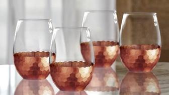 Statement Glasses Better Homes & Gardens Copper Honeycomb Finish Stemless Glass https://www.walmart.com/ip/Better-Homes-Gardens-Copper-Honeycomb-Finish-Stemless-Glass/175888073