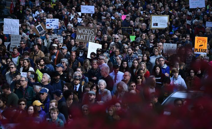 Thousands of people march through Pittsburgh to protest President Donald Trump's visit just days after 11 people were killed