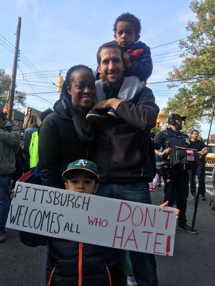 A protest against Trump's visit to Pittsburgh on Tuesday drew thousands of people.