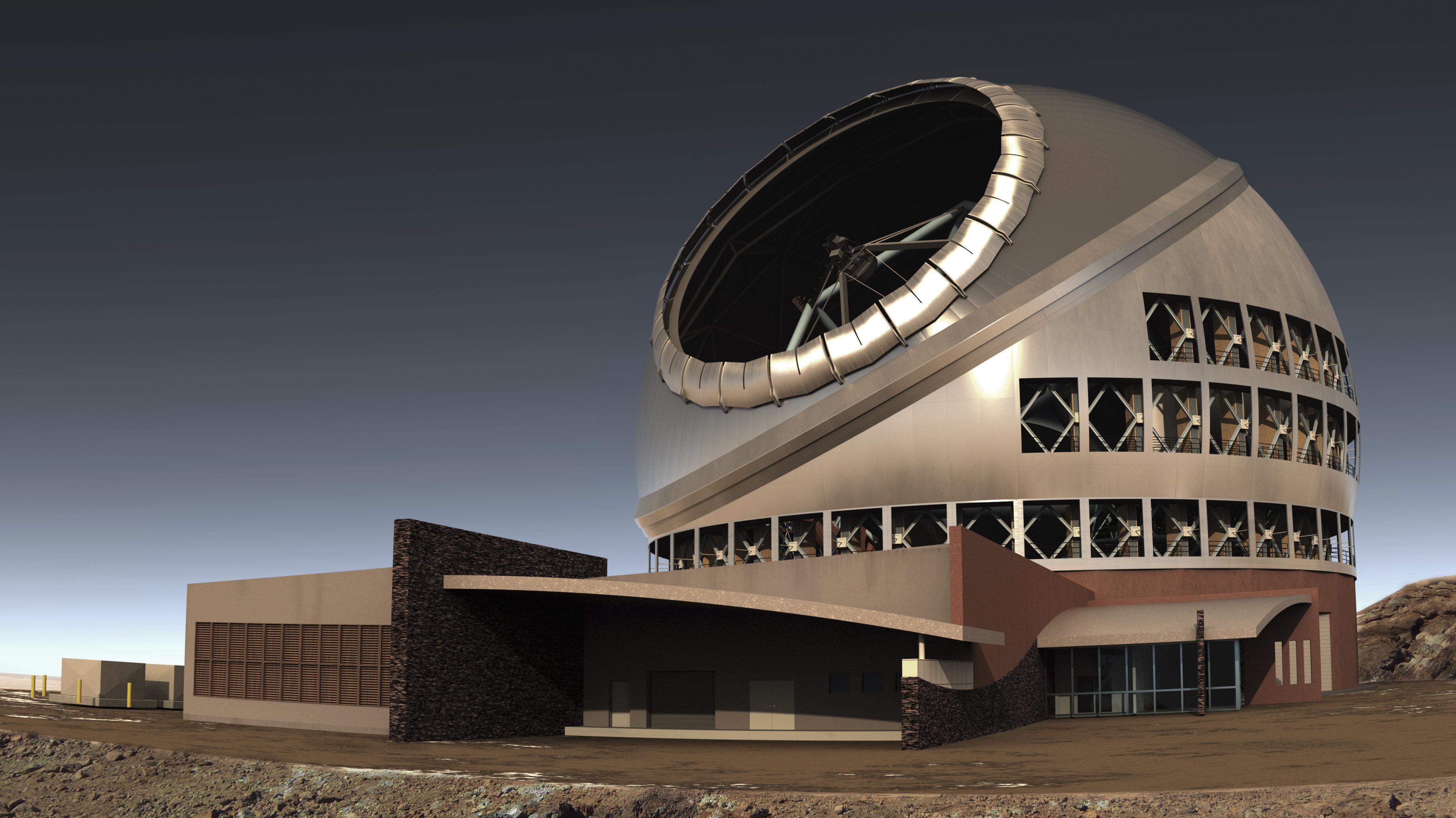 Artist's illustration of the Thirty Meter Telescope on Mauna Kea in Hawaii.
