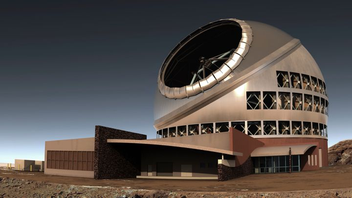 Artist's illustration of the Thirty Meter Telescope on Mauna Kea in Hawaii.