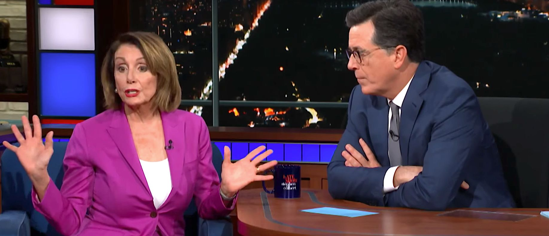 Nancy Pelosi and Stephen Colbert