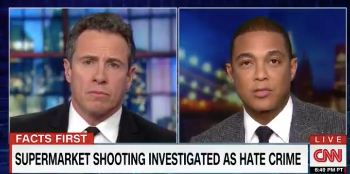 "A screenshot of Don Lemon in discussion with fellow CNN anchor Chris Cuomo. ""We have to stop demonizing people and real"