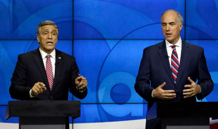 Sen. Bob Casey (D-Pa.), right, has had a solid lead in the polls over Rep. Lou Barletta (R-Pa.).