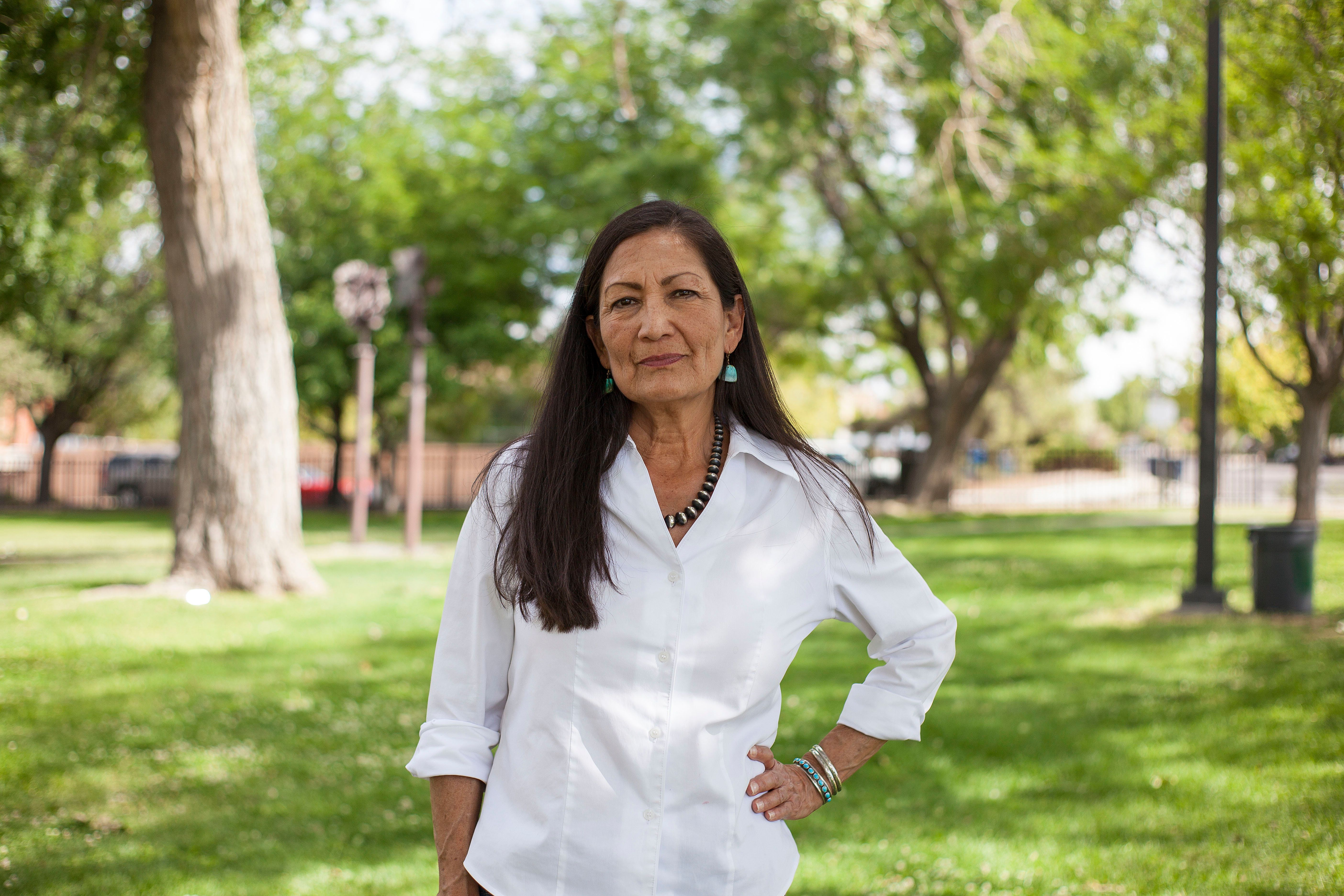 Deb Haaland poses for a portrait during the Democratic Primary elections in a Nob Hill Neighborhood in Albuquerque, New Mexico Tuesday afternoon June 5, 2018. New Mexico Voters will narrow the field in two competitive congressional races, including one in a district along the Mexico border involving a GOP-held seat that Democrats have long targeted. (AP Photo/Juan Labreche)