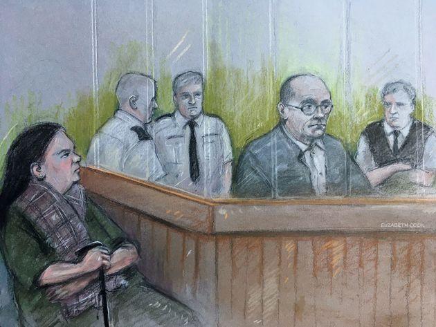 A sketch by court artist Elizabeth Cook of Michelle Hadaway, the mother of Karen Hadaway, looking on...