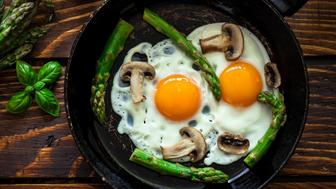 Fried Eggs With Asparagus and Mushrooms