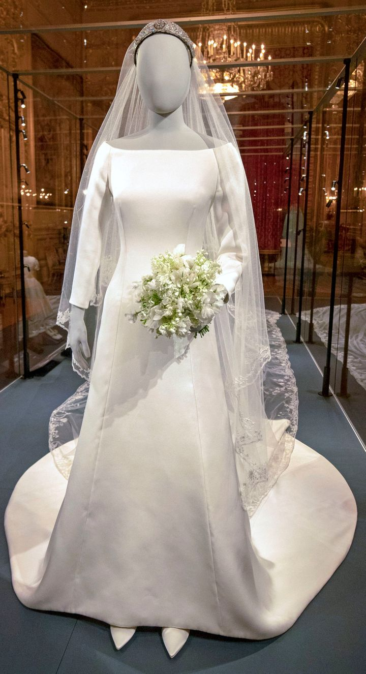 The Duchess of Sussex's gorgeous Givenchy gown and wedding bouquet on display.
