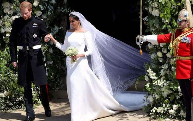Prince Harry and Meghan Markle exit St. George's Chapel on May