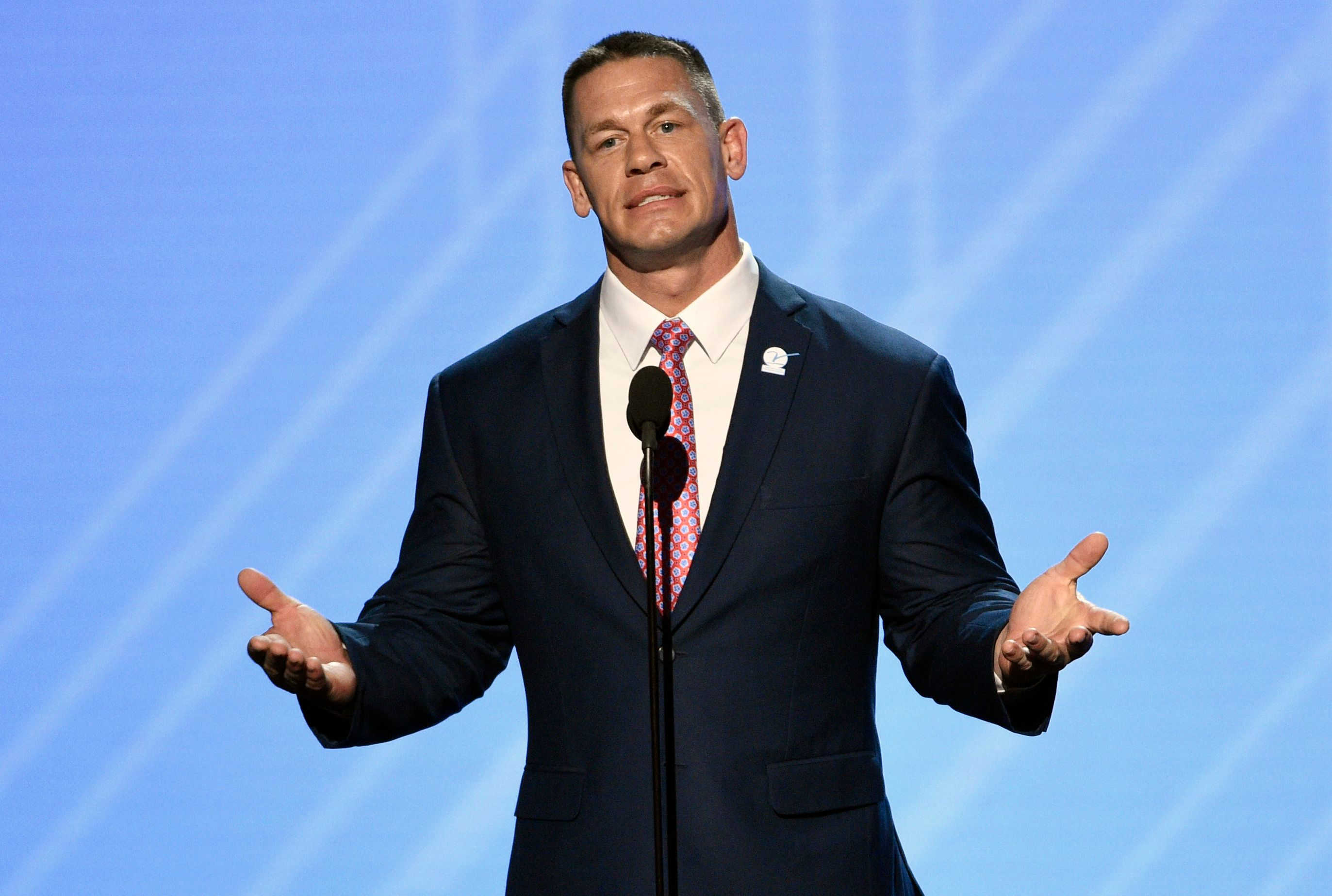 FILE - In this July 12, 2017, file photo, John Cena presents the Jimmy V perseverance award at the ESPYS in Los Angeles. WWE is set to hold its Crown Jewel event Friday, Nov. 2, 2018, in Riyadh, Saudi Arabia. Cena, the 15-year face of the company who could not be reached for comment, was widely reported to have misgivings about his participation in the event and how it might affect his blossoming movie career. (Photo by Chris Pizzello/Invision/AP, File)
