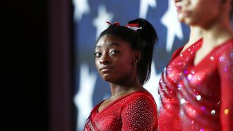 DOHA, QATAR - OCTOBER 30:  Simone Biles of The United States looks on ahead of the Women's team final during day six of the 2018 FIG Artistic Gymnastics Championships at Aspire Dome on October 30, 2018 in Doha, Qatar.  (Photo by Francois Nel/Getty Images)