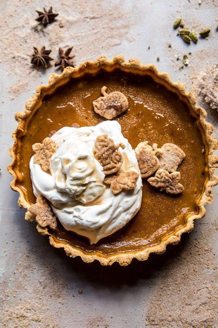 "Get the <a href=""https://www.halfbakedharvest.com/chai-pumpkin-pie-with-maple-whipped-cream/"" target=""_blank"">Chai Pumpkin Pi"