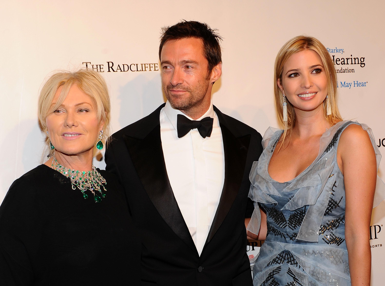 Hugh Jackman with his wife, Deborra-lee Furness, and Ivanka Trump at the Elton John AIDS Foundation benefit...