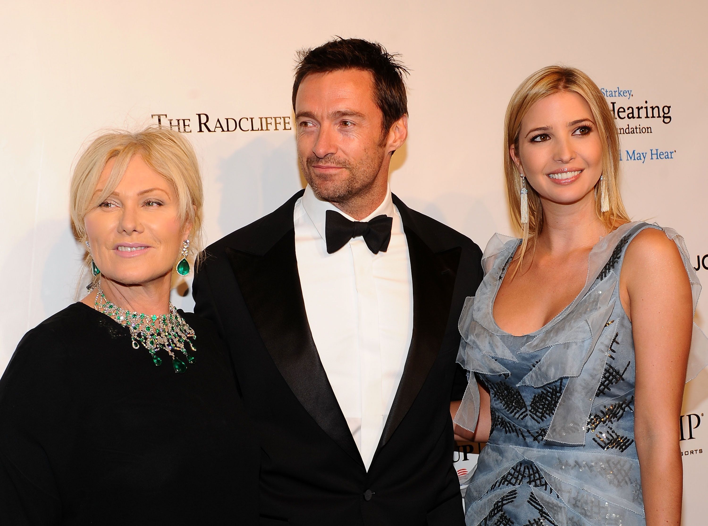 (L-R) Deborra-Lee Furness, Hugh Jackman and Ivanka Trump attend the 9th Annual Elton John AIDS Foundation's 'An Enduring Vision' benefit at Cipriani, Wall Street on October 18, 2010 in New York City. (Photo by Jamie McCarthy/WireImage)