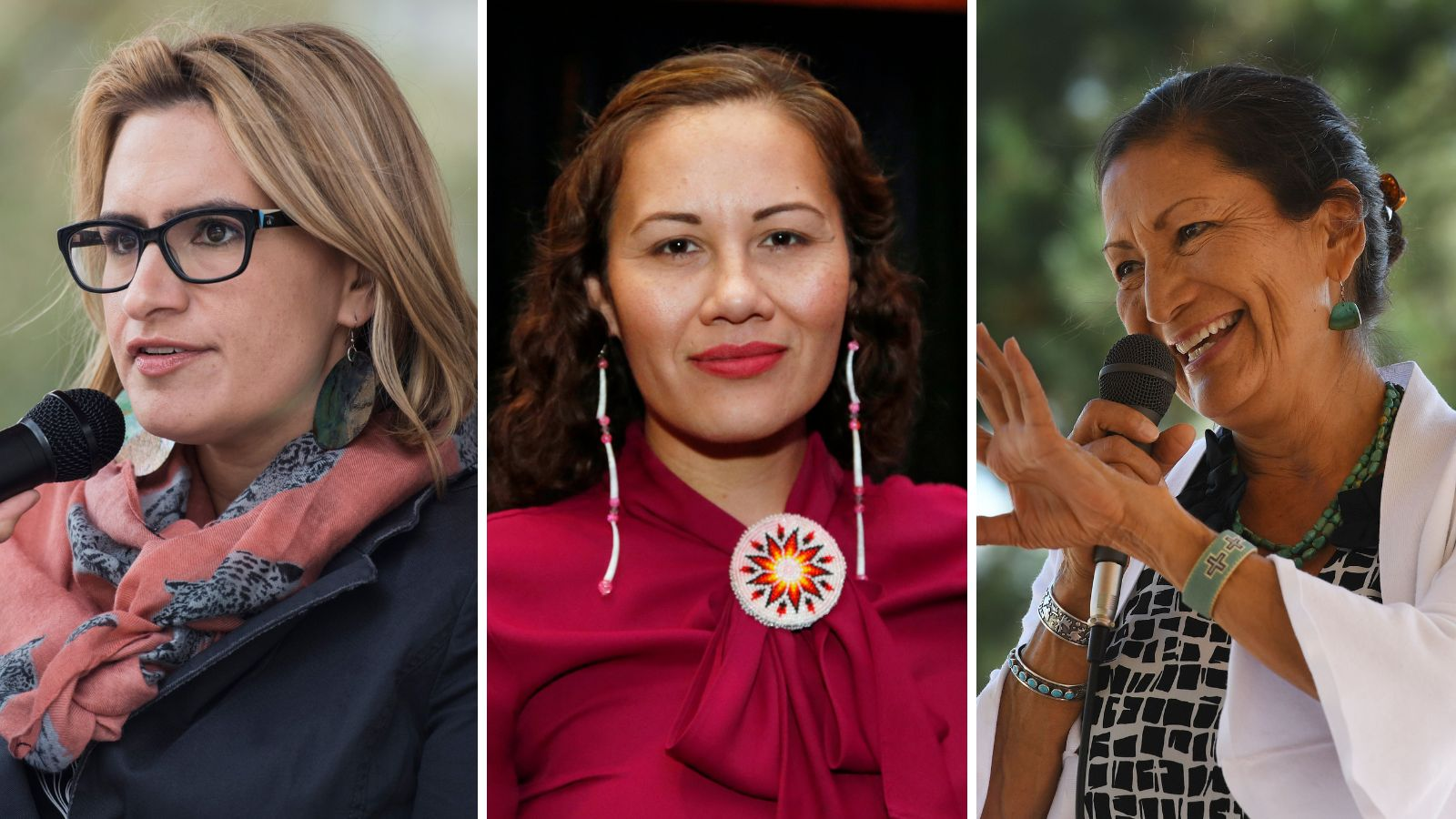 From left to right, candidates Peggy Flanagan, Ashley Nicole McCray, and Deb Haaland