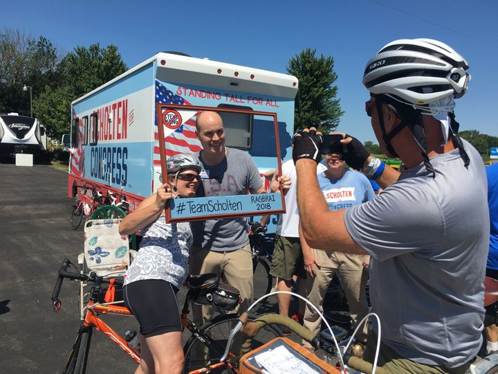 Democrat J.D. Scholten, seen in front of his campaign Winnebago, believes that populist economic policy can appeal to voters
