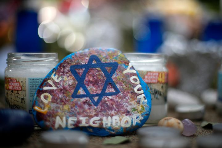 A painted rock found Wednesday, Oct. 31, 2018, was part of a makeshift memorial outside the Tree of Life Synagogue in the Squ