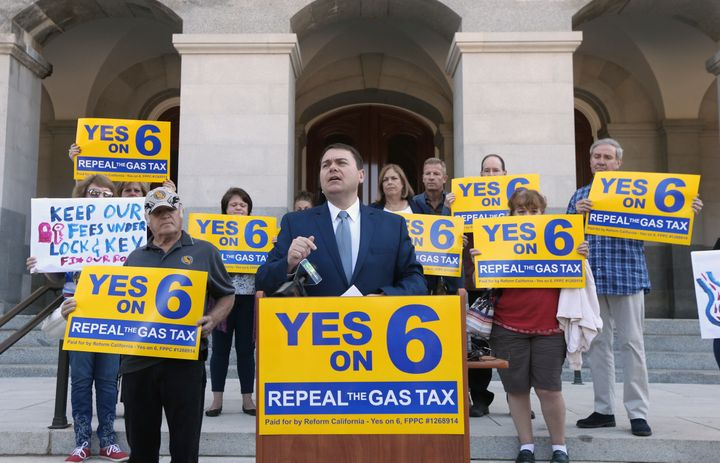 Prop. 6 supporters say the money for road repairs shouldn't be paid for by additional taxes.