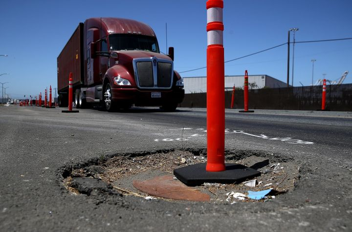 California has about twice as many damaged roadways as the national average.
