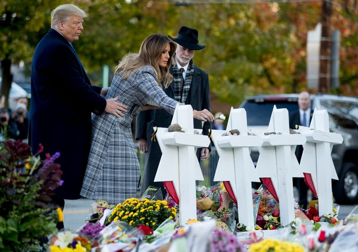 First lady Melania Trump, accompanied by President Donald Trump and Tree of Life Rabbi Jeffrey Myers, visited a makeshift mem
