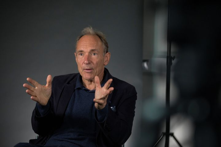 World Wide Web founder Tim Berners-Lee speaks during an interview ahead of a speech at the Mozilla Festival 2018 in London, B
