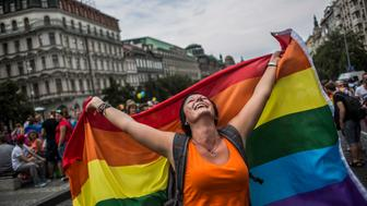 PRAGUE, CZECH REPUBLIC - AUGUST 15:  A participant attends the Prague Pride March on August 15, 2015 in Prague, Czech Republic. More than ten thousand people marched through city centre in support of lesbian, gay, bisexual and transgenders (LGBT) rights.  (Photo by Matej Divizna/Getty Images)