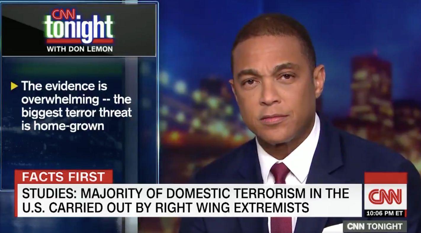 Don Lemon says on CNN the biggest terror threat to the US is white men