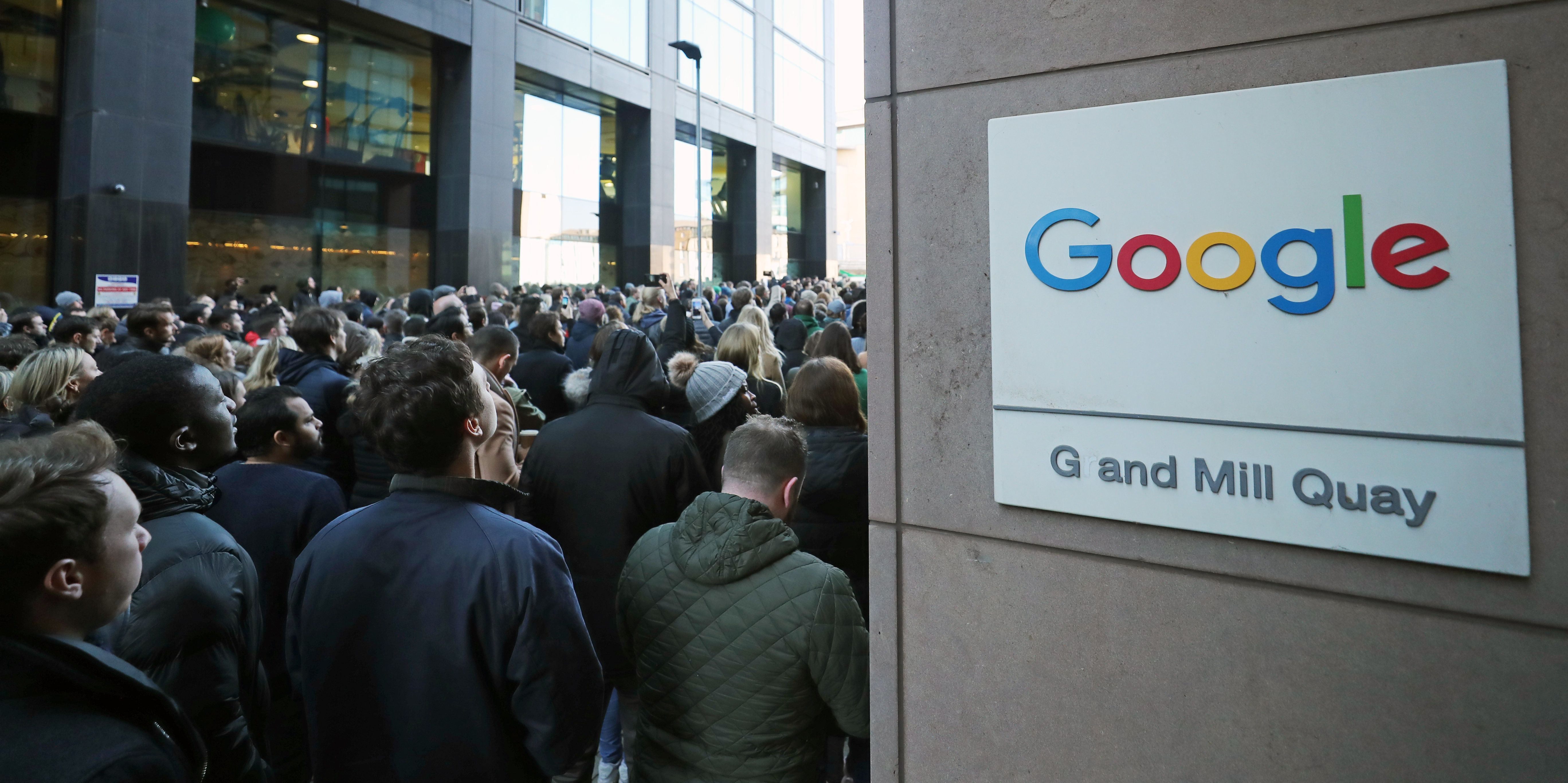 Google employees at its European headquarters in Dublin, Ireland, join others from around the world walking out of their offices in protest over claims of sexual harassment, gender inequality and systemic racism at the tech giant. (Photo by Niall Carson/PA Images via Getty Images)