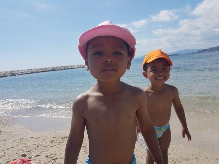 Mika's twin sons Zak and Leo.