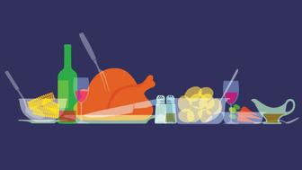 Colourful overlapping silhouettes of Thanksgiving food. EPS10 file, best in RGB, CS5 versions in zip