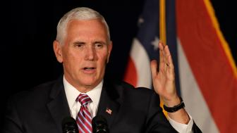 Vice President Mike Pence speaks at the Mansfield Lahm Regional Airport, Wednesday, Oct. 31, 2018, in Mansfield, Ohio. Pence was in Ohio campaigning for fellow Republicans. (AP Photo/Tony Dejak)
