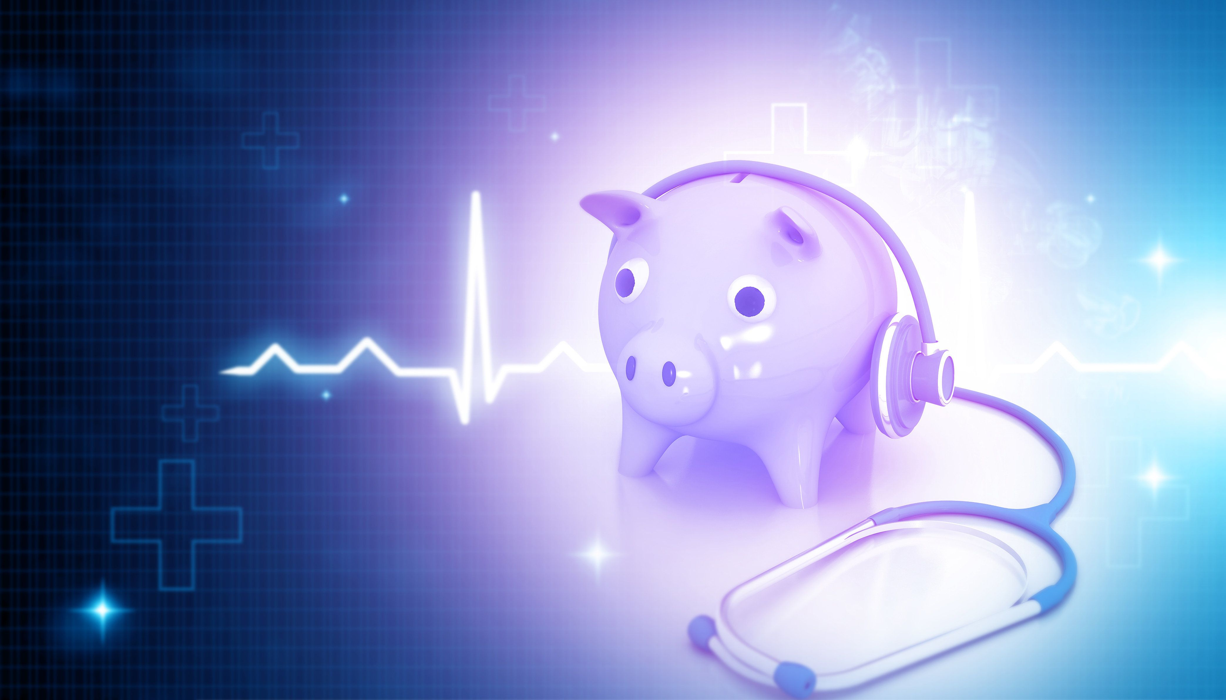 stethoscope with piggy bank on blue medical background. 3d illustration