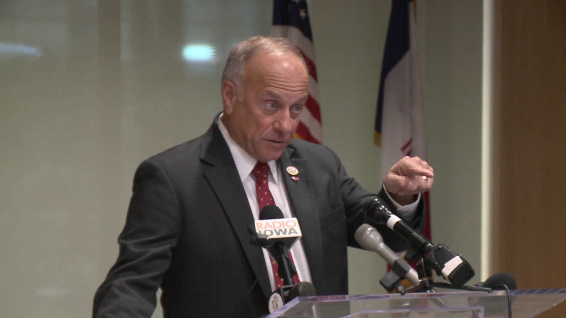 Congressman Steve King was taking questions at an event in Iowa on Thursday when a man compared the Republican to the shooter who killed 11 people at a Pittsburgh synagogue and asked if he was a white nationalist.