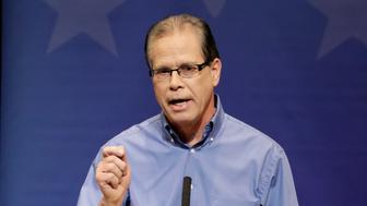 Republican former state Rep. Mike Braun speaks during a U.S. Senate Debate against Republican former state Rep. Mike Braun and Libertarian Lucy Brenton, Tuesday, Oct. 30, 2018, in Indianapolis. (AP Photo/Darron Cummings, Pool)