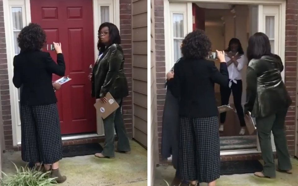 Oprah Winfrey knocks door-to-door for Stacey Abrams in Georgia.