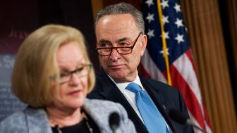 UNITED STATES - MAY 17:  Sens. Charles Schumer, D-N.Y., and Claire McCaskill, D-Mo., concude a news conference in the Capitol on their request to the Federal Trade Commission to investigate potential price fixing by U.S. gasoline refiners, contending that the refiners are cutting back on stockpiles to keep prices high.  (Photo By Tom Williams/Roll Call)