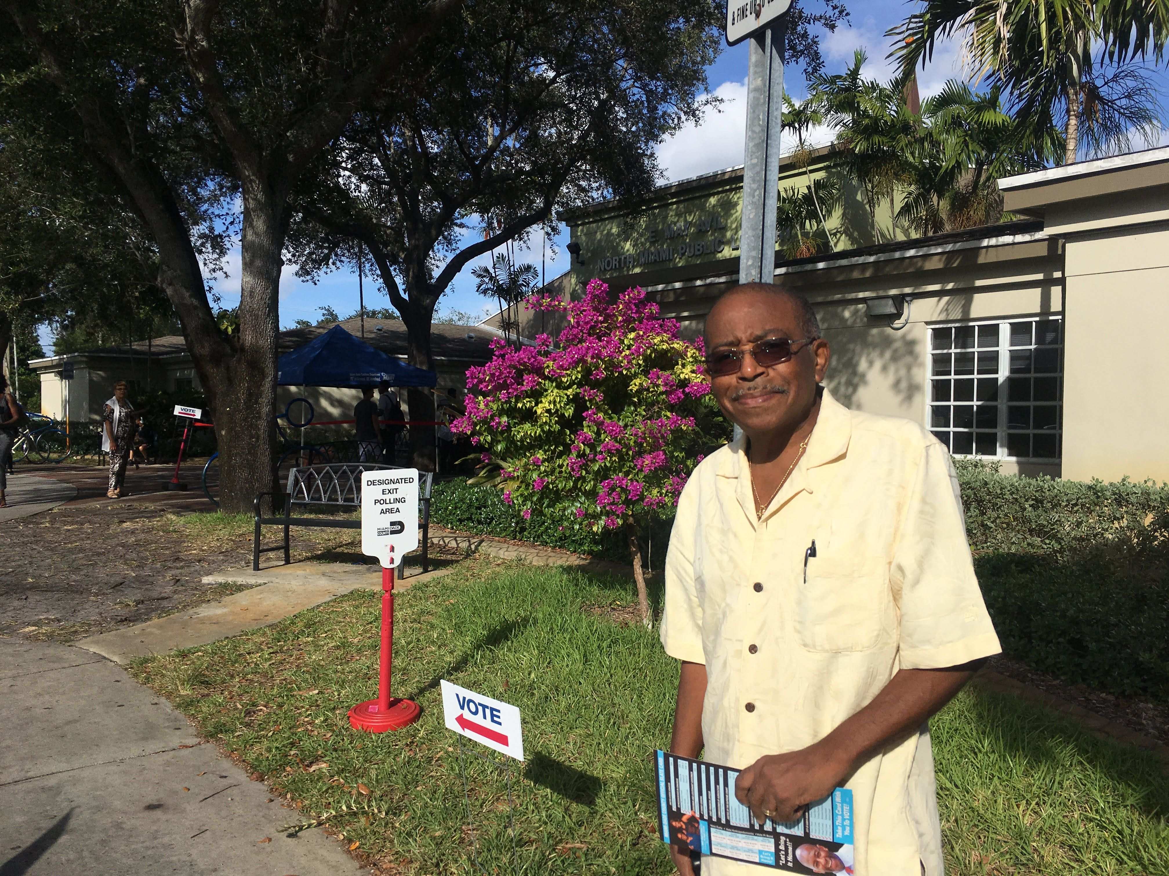 Camille Papin prepares to cast an early vote for Gillum at the North Miami Public Library. Papin who is 78 and a native of H