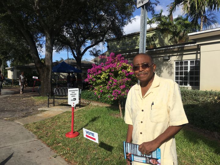 Camille Papin prepares to cast an early vote for Gillum at the North Miami Public Library. Papin, who is 78 and a native of H