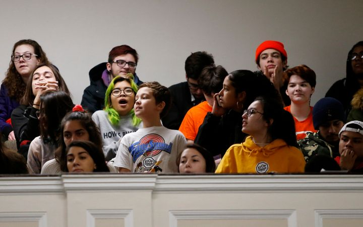 Students in March filled the hearing room inside the Massachusetts Statehouse in Boston to demand action on gun violence as p